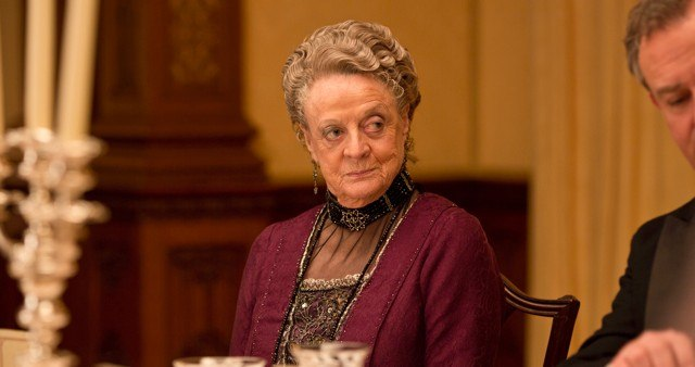 COURTESY OF ©NICK BRIGGS/CARNIVAL FILM AND TELEVISION LIMITED 2013 FOR MASTERPIECE.  The Dowager Countess, Downton Abbey's long-running M.V.P., and her world-famous side eye are back.
