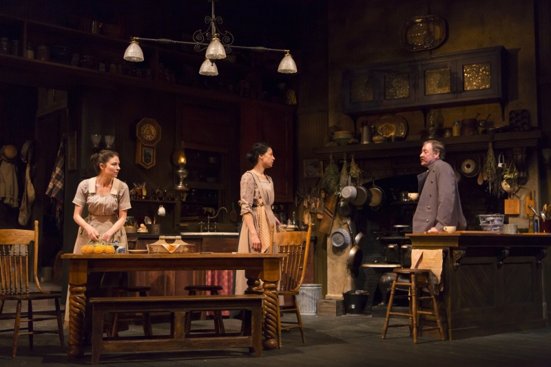 MacKenzie Meehan, Kathleen McElfresh, and Christopher Donahue in the Huntington Theatre Company production of the moving Irish drama The Second Girl by Ronan Noone, directed by Campbell Scott, playing January 16 – February 21, 2015 at the South End/Calderwood Pavilion at the BCA.  Photo: T. Charles Erickson
