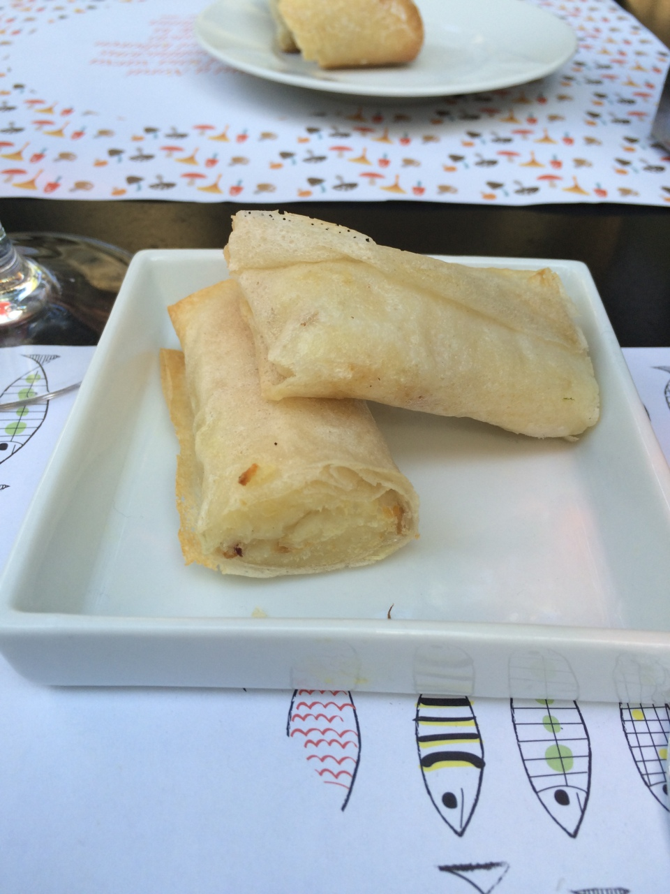 Baccala wrapped in filo, National Maritime Museum, Barcelona Spain, Sunday November 8, 2015 2 pm